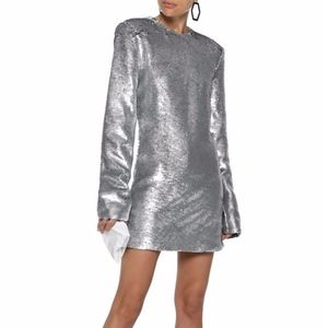 RTA sequined cotton-blend mini dress SILVER
